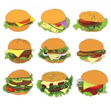 Гамбургеры/ векторная графика