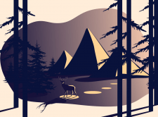 illustration of evening time in the mountains