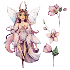 Watercolor image of fairies and flowers
