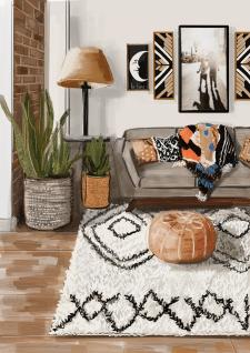 Визуализация гостиной в стиле бохо