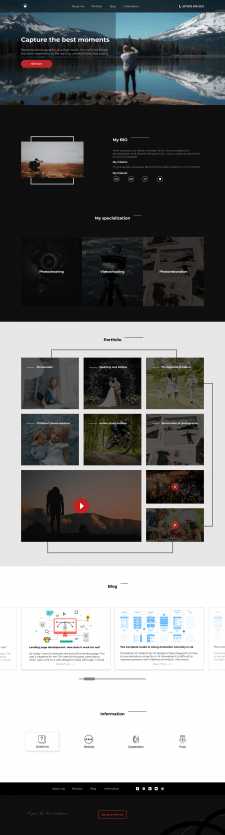 Веб-дизайн сайта фотографа