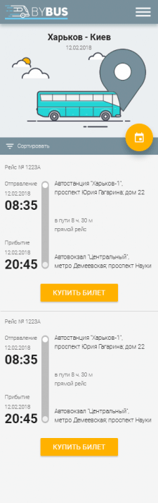 "Website for bus timetables ""BYBUS"" (mobile)"