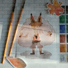 Забавный лис акварелью