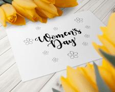Women's day card, ;vector lettering illustration