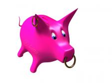 Розовая свинья-копилка