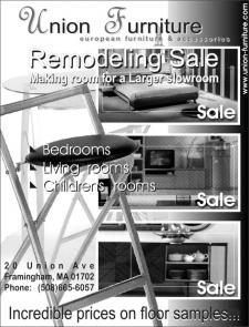 Рекламный блок в журнал для салона мебели Union Furniturе