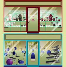 Иллюстрация витрин Вектор