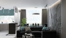 3d-визуализации интерьера гостиной+кухни+прихожей