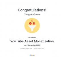 Сертификат YouTube | Монетизация объектов