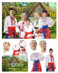 Фотомонтаж. Семья в украинском стиле.