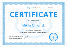 HTML/CSS Certificate from TemplateMonster
