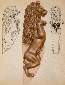 Геральдический лев, модель под 3d-печать
