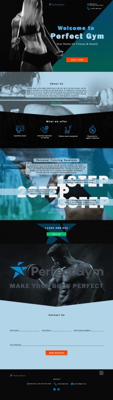 Concept design landing page for gym