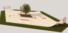 Зд визуализация бетонного скейт-парка