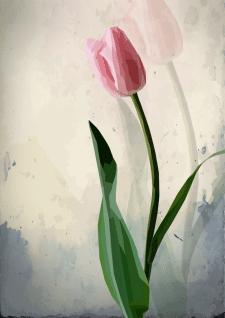 полігональний малюнок тюльпана