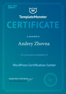 Сертификат Wordpress от TemplateMonster