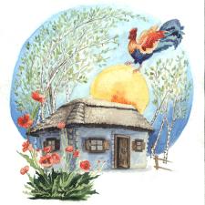 Акварельная иллюстрация - Петушок поднимает солнце