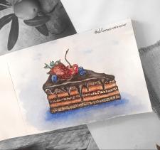 Рисунок пироженого от руки
