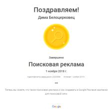 Сертификат Google - Поисковая реклама