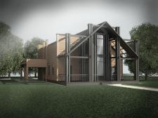 Дом с металлическими колоннами