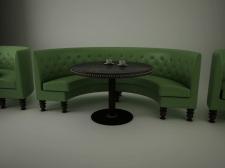 3Д диван и столик для кафе зеленый