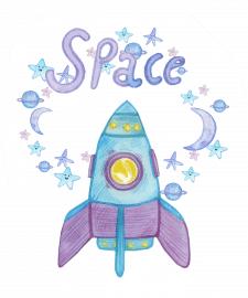 watercolor cute raqueta. Space theme. Stars, space
