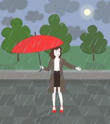 """Иллюстрация """"Девушка под дождем"""""""
