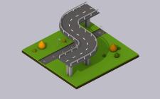 3d isometric city road