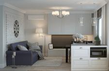 3d-визуализации интерьера гостиной+кухни