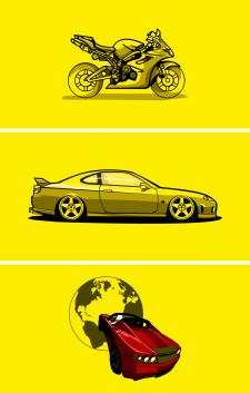 illustration car, bike, spacex