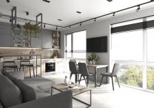 Визуализация кухни-студии из дизайн проекта