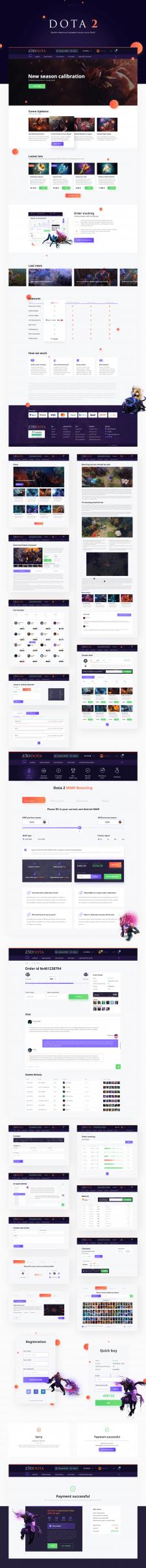 Дизайн сервиса для продажи скинов и услуг Dota2