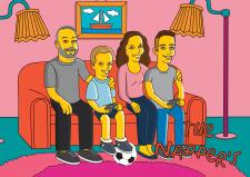 Портрет на семью в стиле Симпсонов