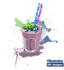 """Иллюстрация """"milkshake blueberries"""""""