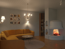 Design a living room in a country house in Norway