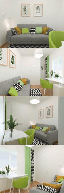 Дизайн гостевой комнаты в скандинавском стиле.
