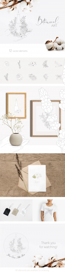 Botanical ART collection - 12 vector elements
