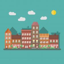 2д город иллюстрация