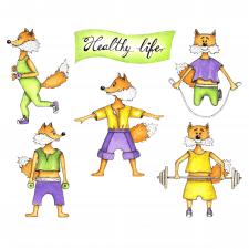 Акварельна ілюстрація лисичок-спортсменів