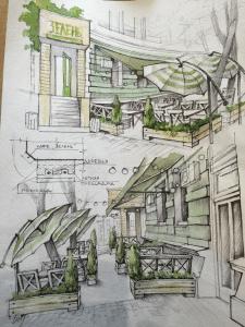 Эскизный проект кафе Зелень. Одесса