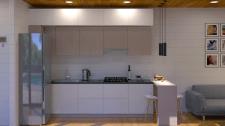 Дизайн кухни-гостиной в модульном доме