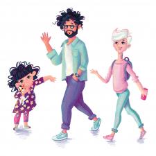 Персонажі Сім'я - тато,мама,донька і песик