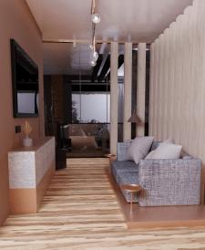 3d визуализация зоны отдыха на 2 этаже в коттедже