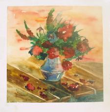 Ваза с цветами, акварель.