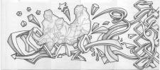 Эскиз рисунка в стиле граффити на стену