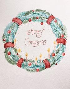 Рождественская иллюстрация акварелью