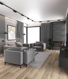 Дизайн проект гостиной,3д модел-ние и виз-ция.