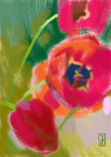 Тюльпаны. Растровая иллюстрация