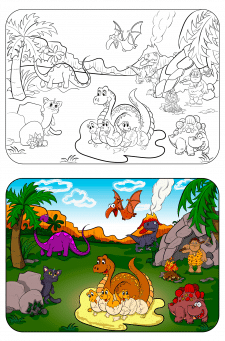 Динозавры - раскраска для детей