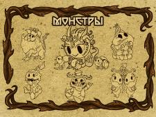 Наброски Карточки Монстров  Creepy funny monsters